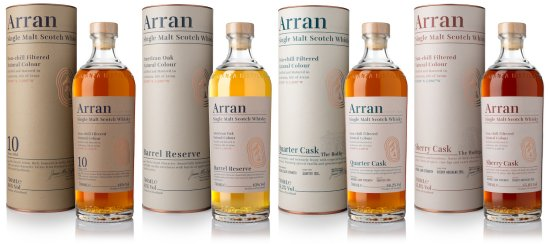 The new look Arran core whisky range.