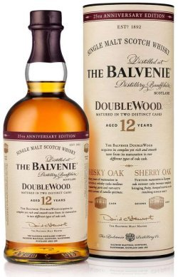 The Balvenie DoubleWood 12 Year Old with 25th Anniversary Edition packaging.