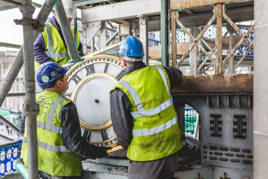 Restoration Of Binns Clock At Johnnie Walker Visitor Experience Princes Street Edinburgh.