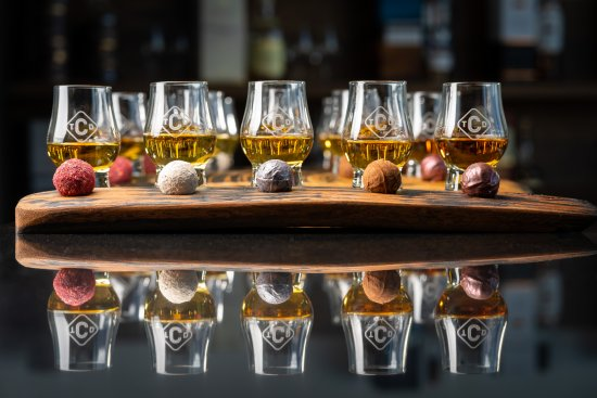 The Clydeside Distillery Whisky & Chocolate Tour pairing delicious artisan chocolates with five carefully selected 10ml drams of Single Malt Scotch Whisky and The Clydeside's New Make Spirit.