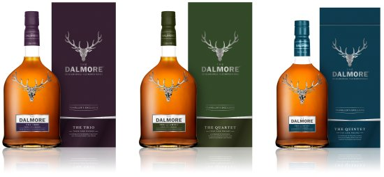 Dalmore The Trio, The Quartet and The Quintet travel retail exclusive single malt whiskies.