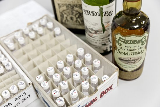 Samples of rare whisky for testing