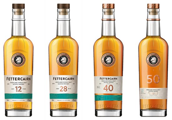 Fettercairn 12, 28, 40 and 50 Year Old.