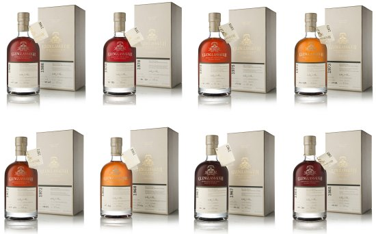Glenglassaugh Batch 3, group L to R, Top to Bottom, 1986 Cask, 1978 Cask, 1975 Cask, 1973 Cask, 1972 Cask, 1968 Cask, 1967 Cask, and 1965 Cask