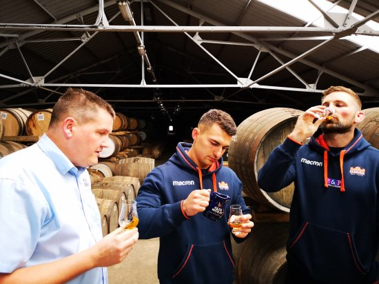 Sampling a dram of the Glen Moray Edinburgh Rugby Single Cask Private Edition (L-R): Master Distiller, Graham Coull, Damien Hoyland and Scotland Rugby Captain, John Barclay