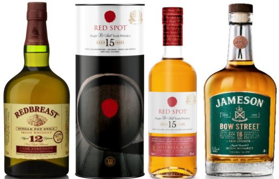 Irish Distillers Double Gold Medal winning whiskeys - Redbreast 12 Year Old Cask Strength, Red Spot 15 Year Old and Jameson Bow Street 18 Years Cask Strength