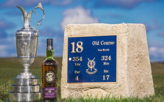 The Claret Jug and the Loch Lomond 18 Year Old Single Malt Scotch Whisky, photographed at the 18th tee at St Andrews.