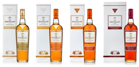 The Macallan 1824 Series - The expressions are Macallan Gold, Macallan Amber, Macallan Sienna and Macallan Ruby.