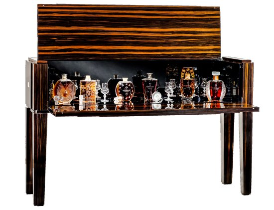 The complete Macallan in Lalique Legacy Collection was housed in a one and only, bespoke natural ebony cabinet created by Lalique Maison.