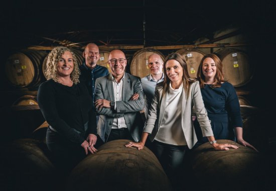 Kirsteen Campbell, Master Whisky Maker with The Macallan Mastery Team - Stuart MacPherson, Master of Wood; Sarah Burgess, Lead Whisky Maker; Polly Logan, Whisky Maker; Steven Bremner, Whisky Maker; and Russell Greig, Sample Room Assistant.