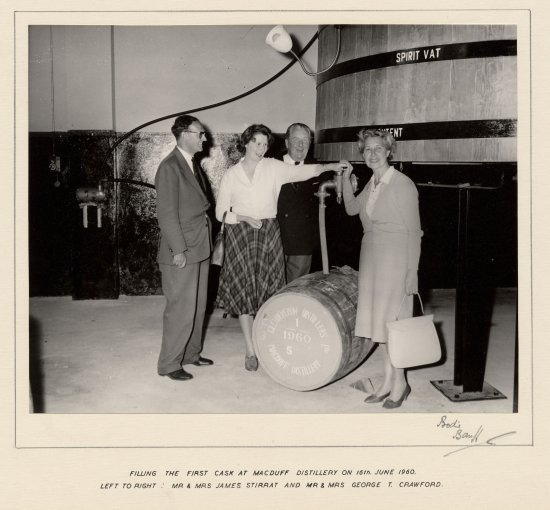 Filling the first cask at Macduff Distillery 16th June 1960 - Image copyright Bodies of Banff