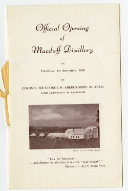 Macduff Distillery official opening invite 1st September 1960 photo copyright Bodies of Banff