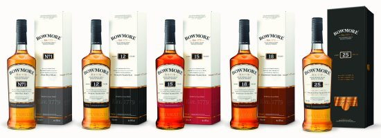 Bowmore whisky range - Bowmore No.1, 12, 15, 18 and 25 year old.