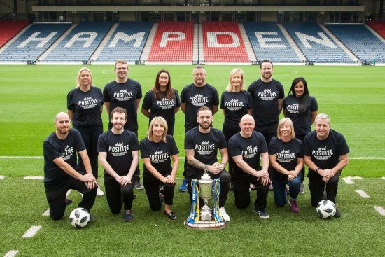 Scotland assistant coach James McFadden joins a team of Diageo employees to launch new responsible drinking campaign.