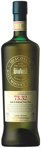 SMWS bottle with full tasting note on the front label.